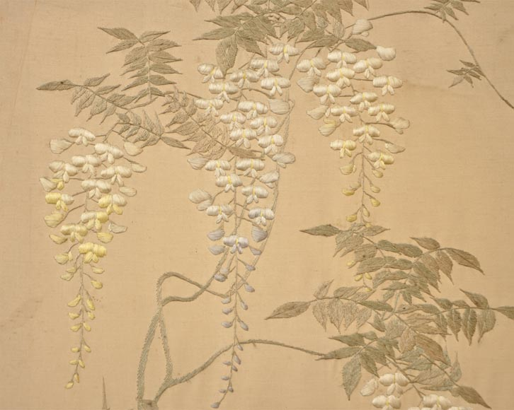 Maison des Bambous Alfred PERRET et Ernest VIBERT (attributed to) - Japanese style embroidered silk screen-10