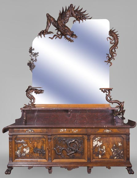 Maison des Bambous Alfred PERRET and Ernest VIBERT - Large Japanese-style cupboard and its mirror with dragons-0