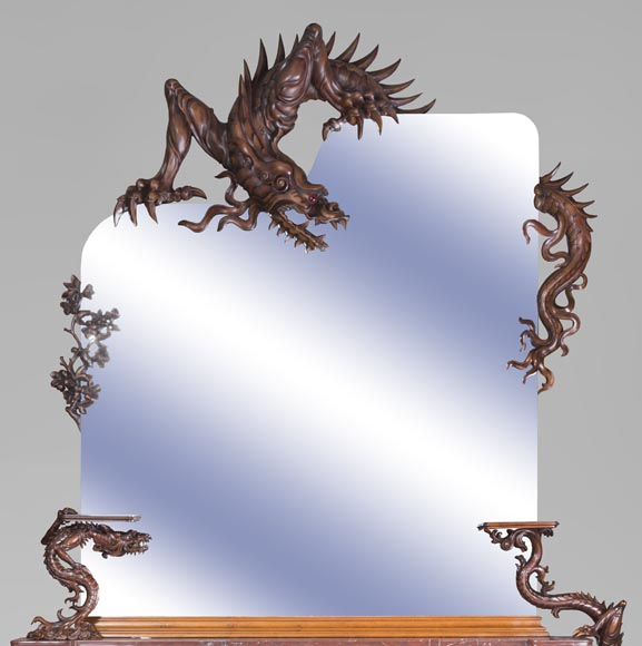 Maison des Bambous Alfred PERRET and Ernest VIBERT - Large Japanese-style cupboard and its mirror with dragons-1