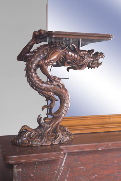 Maison des Bambous Alfred PERRET and Ernest VIBERT - Large Japanese-style cupboard and its mirror with dragons-6