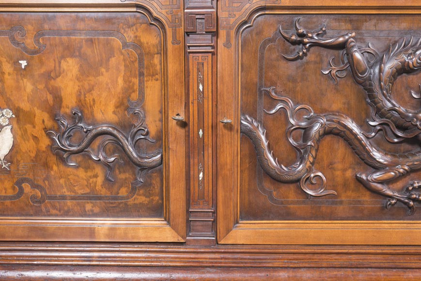 Maison des Bambous Alfred PERRET and Ernest VIBERT - Large Japanese-style cupboard and its mirror with dragons-11