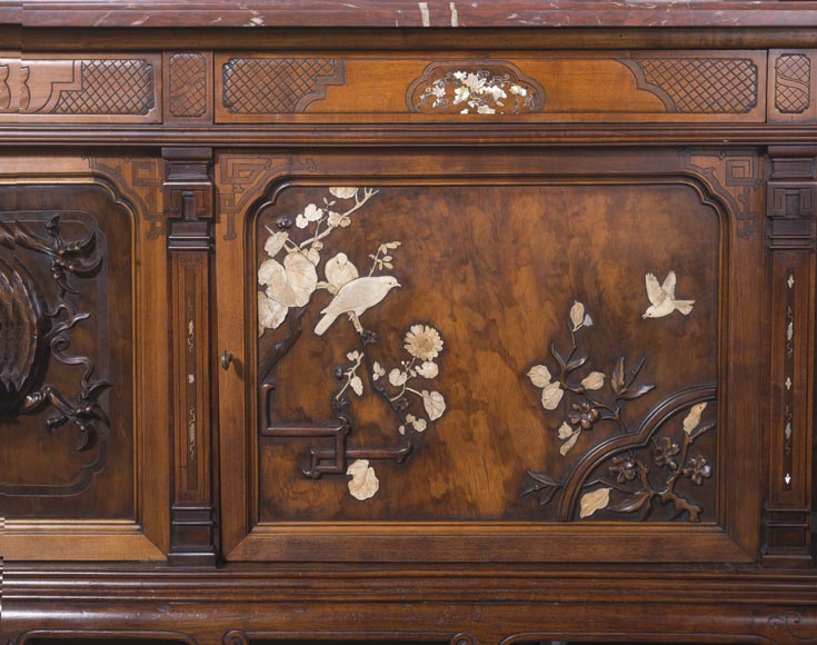 Maison des Bambous Alfred PERRET and Ernest VIBERT - Large Japanese-style cupboard and its mirror with dragons-12