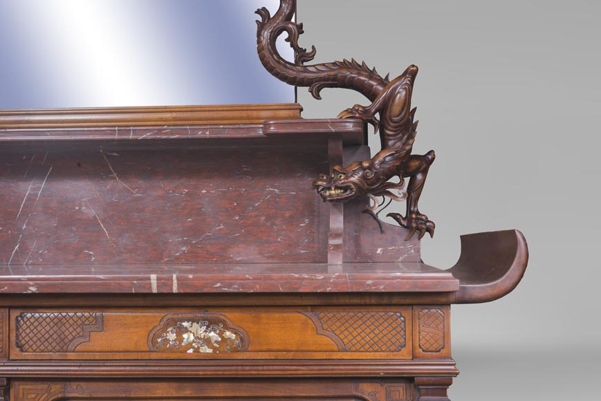 Maison des Bambous Alfred PERRET and Ernest VIBERT - Large Japanese-style cupboard and its mirror with dragons-14