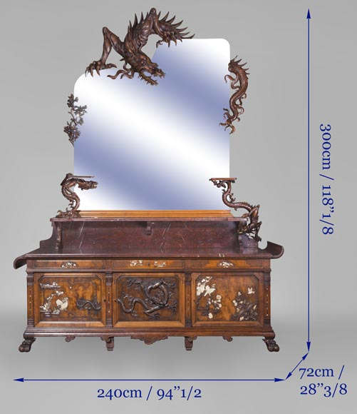 Maison des Bambous Alfred PERRET and Ernest VIBERT - Large Japanese-style cupboard and its mirror with dragons-18