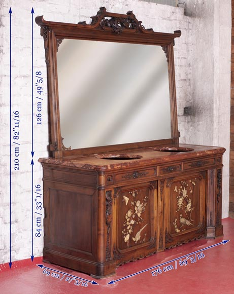 Washbasin cabinet and its mirror in the Far Eastern style-12
