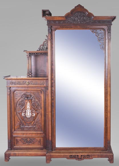 Gabriel VIARDOT (attributed to) - Asymmetrical cabinet with rich engraved and sculpted decoration of extreme oriental inspiration-0