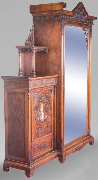 Gabriel VIARDOT (attributed to) - Asymmetrical cabinet with rich engraved and sculpted decoration of extreme oriental inspiration-1