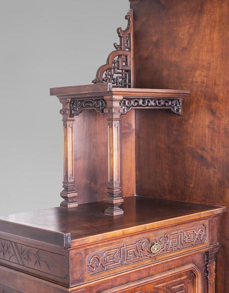 Gabriel VIARDOT (attributed to) - Asymmetrical cabinet with rich engraved and sculpted decoration of extreme oriental inspiration-4