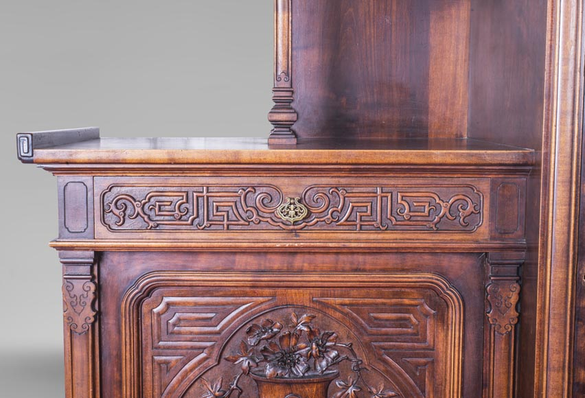 Gabriel VIARDOT (attributed to) - Asymmetrical cabinet with rich engraved and sculpted decoration of extreme oriental inspiration-5