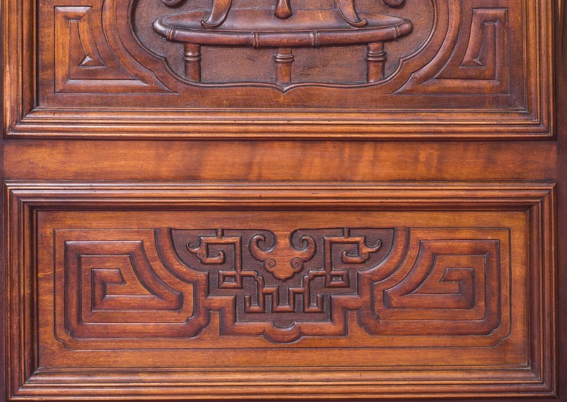 Gabriel VIARDOT (attributed to) - Asymmetrical cabinet with rich engraved and sculpted decoration of extreme oriental inspiration-7