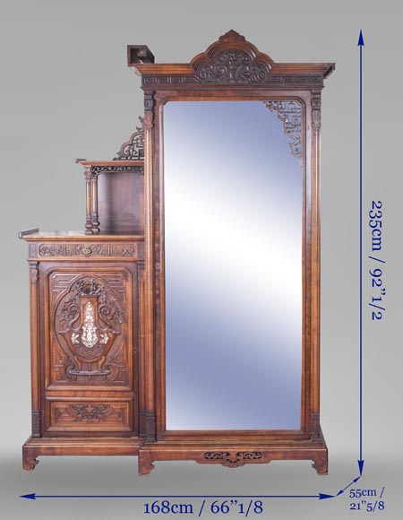 Gabriel VIARDOT (attributed to) - Asymmetrical cabinet with rich engraved and sculpted decoration of extreme oriental inspiration-12
