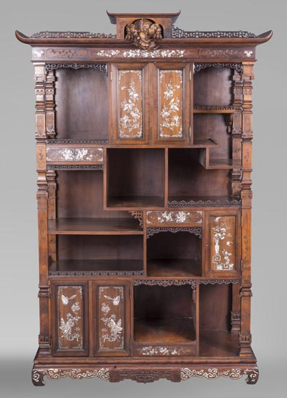 Shelves cabinet of Far Eastern inspiration, decorated with floral vases in mother-of-pearl and ivory-0