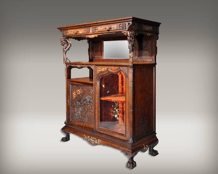 Japanese Furniture With Carved Decoration And Mother Of Pearl Inlay