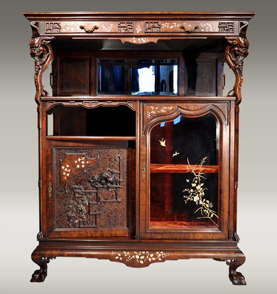 Japanese furniture with carved decoration and mother-of-pearl inlay-0