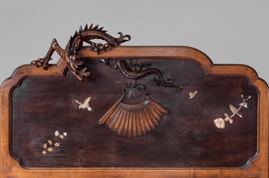 Maison des Bambous Alfred PERRET et Ernest VIBERT (attributed to) - Japanese style bed with dragon-1