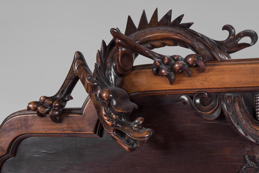Maison des Bambous Alfred PERRET et Ernest VIBERT (attributed to) - Japanese style bed with dragon-2