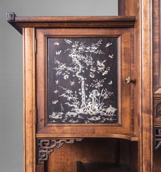 Gabriel VIARDOT (1830-1906) - Japanese style shelf unit with dragon and Foo dog-7