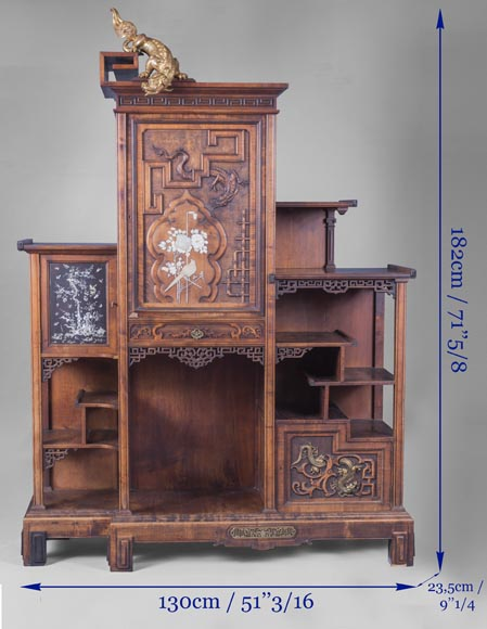 Gabriel VIARDOT (1830-1906) - Japanese style shelf unit with dragon and Foo dog-10