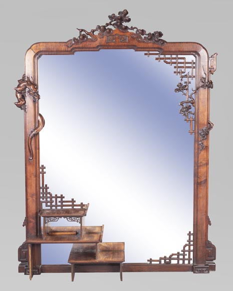 Large japanese style mirror with dragon-0