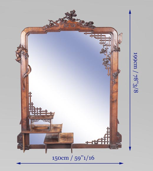Large japanese style mirror with dragon-7