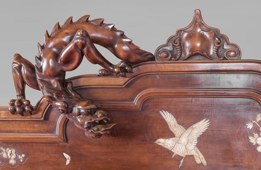 Antique bed of Far Eastern inspiration with engraved and inlaid bone decoration-2