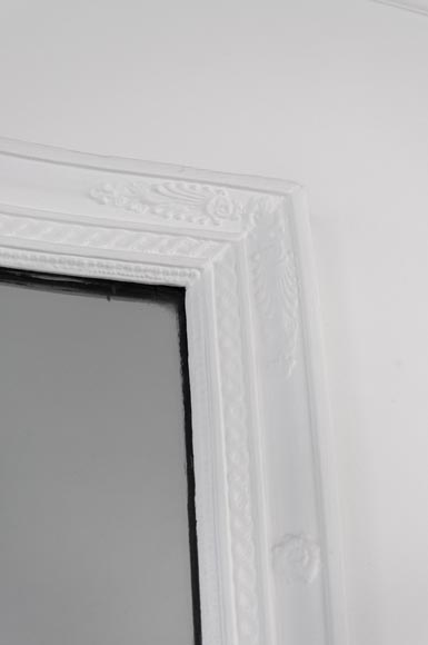 Restauration style overmantel mirror with palmettes, wood and painted stucco-2