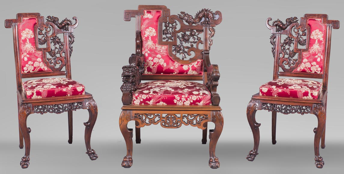 Cyrille RUFFIER DES AIMES (1844-1916) - Set of two chairs and an armchair inspired by the Far East-0
