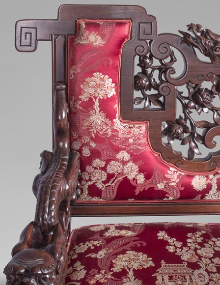 Cyrille RUFFIER DES AIMES (1844-1916) - Set of two chairs and an armchair inspired by the Far East-7