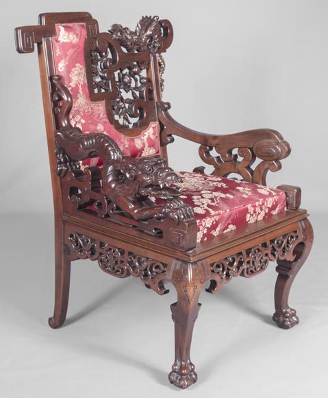 Cyrille RUFFIER DES AIMES (1844-1916) - Set of two chairs and an armchair inspired by the Far East-11