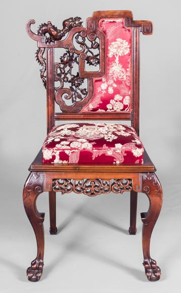 Cyrille RUFFIER DES AIMES (1844-1916) - Set of two chairs and an armchair inspired by the Far East-15