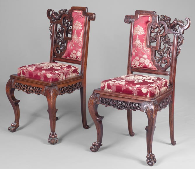 Cyrille RUFFIER DES AIMES (1844-1916) - Set of two chairs and an armchair inspired by the Far East-16