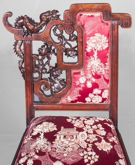 Cyrille RUFFIER DES AIMES (1844-1916) - Set of two chairs and an armchair inspired by the Far East-19