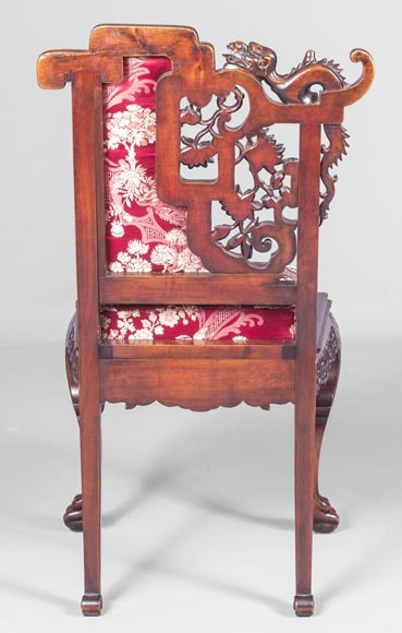 Cyrille RUFFIER DES AIMES (1844-1916) - Set of two chairs and an armchair inspired by the Far East-27