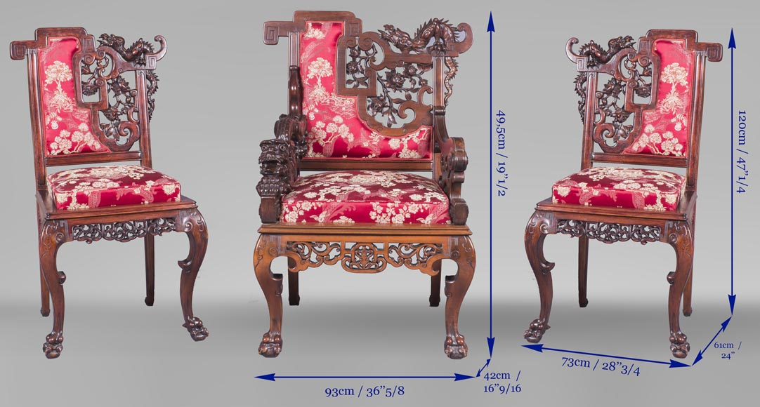 Cyrille RUFFIER DES AIMES (1844-1916) - Set of two chairs and an armchair inspired by the Far East-29