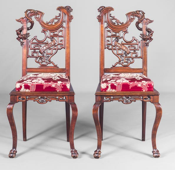 Gabriel Viardot (attributed to) -Japanese style pair of chairs with dragon and mouse decoration-0