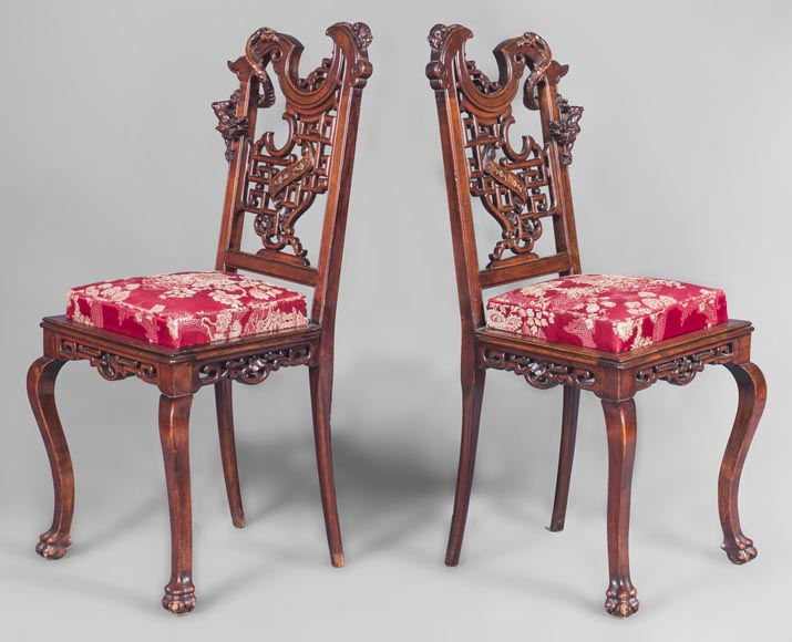 Gabriel Viardot (attributed to) -Japanese style pair of chairs with dragon and mouse decoration-1
