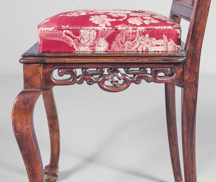 Gabriel Viardot (attributed to) -Japanese style pair of chairs with dragon and mouse decoration-2