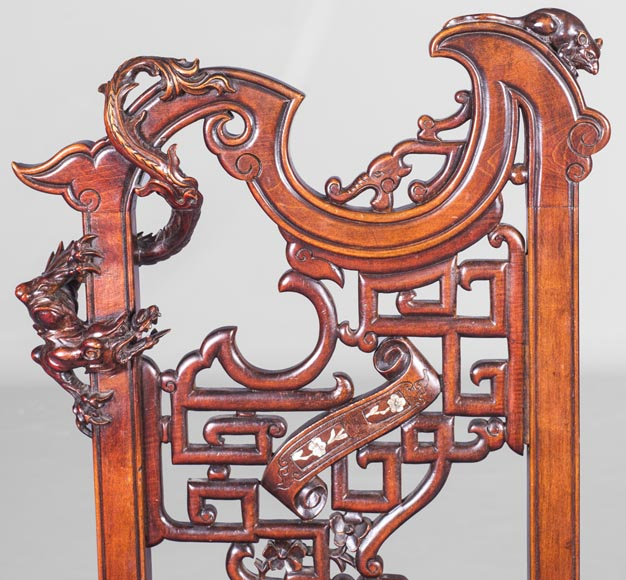 Gabriel Viardot (attributed to) -Japanese style pair of chairs with dragon and mouse decoration-3