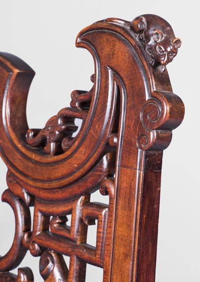 Gabriel Viardot (attributed to) -Japanese style pair of chairs with dragon and mouse decoration-5