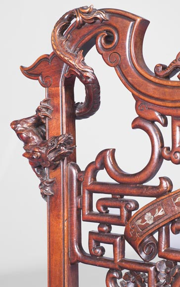 Gabriel Viardot (attributed to) -Japanese style pair of chairs with dragon and mouse decoration-6
