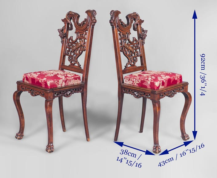 Gabriel Viardot (attributed to) -Japanese style pair of chairs with dragon and mouse decoration-9