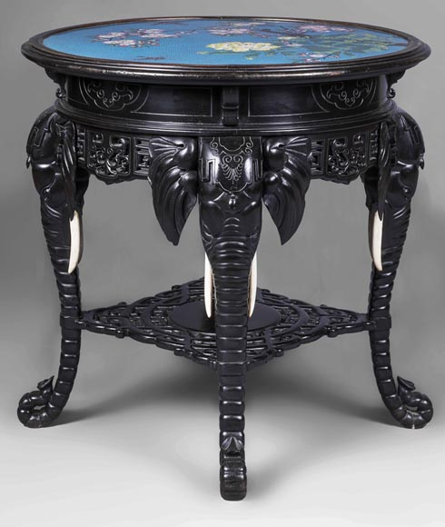 Japanese pedestal table, elephant head base-0