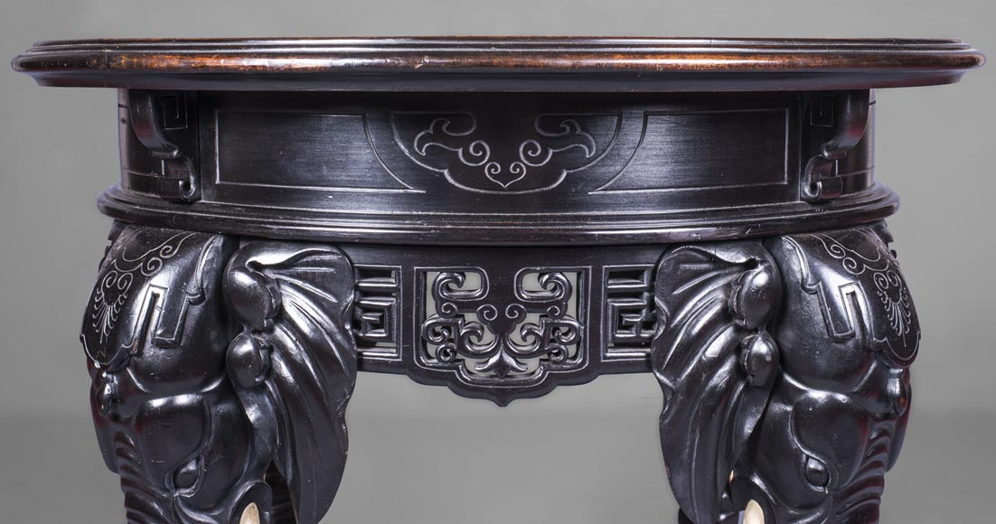 Japanese pedestal table, elephant head base-1