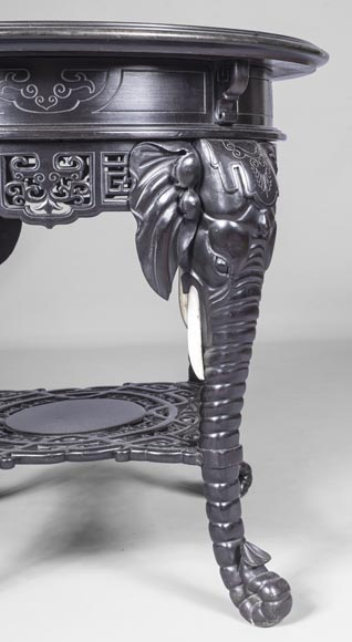 Japanese pedestal table, elephant head base-3