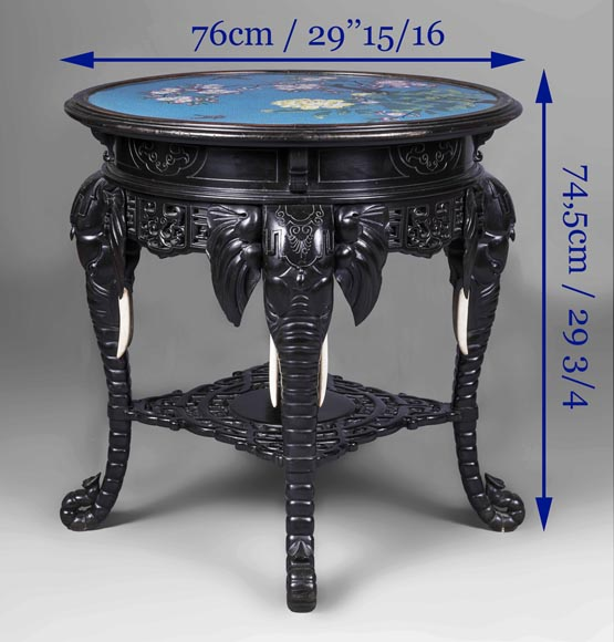 Japanese pedestal table, elephant head base-10