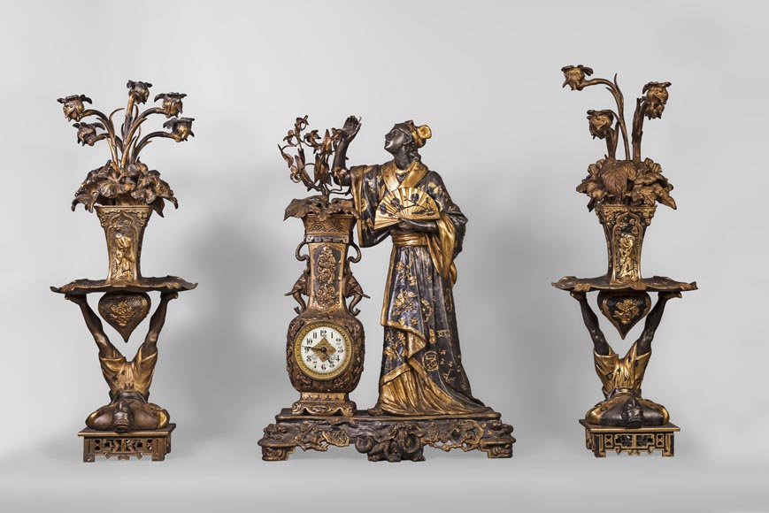 Arthur WAAGEN (active 1869-1910) Japanese-style clock set, made out of spelter, representing a young woman dressed in a kimono-0