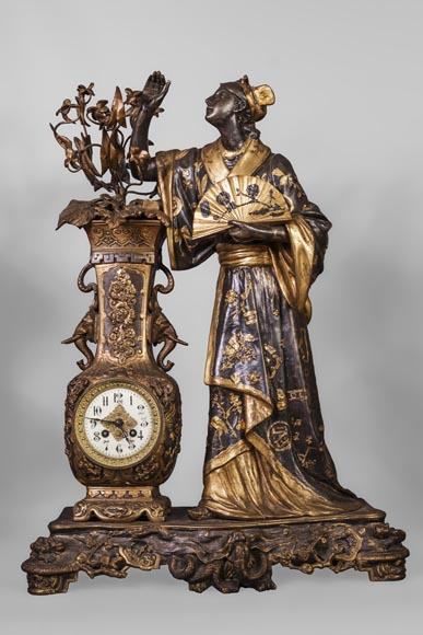 Arthur WAAGEN (active 1869-1910) Japanese-style clock set, made out of spelter, representing a young woman dressed in a kimono-1
