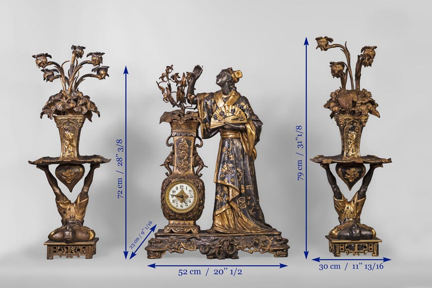 Arthur WAAGEN (active 1869-1910) Japanese-style clock set, made out of spelter, representing a young woman dressed in a kimono-4