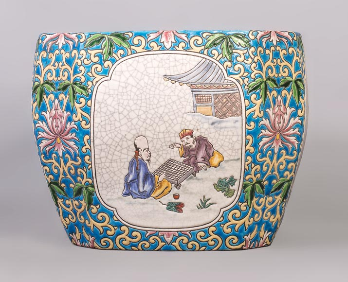 Japanese style cachepot in glazed earthenware with medallion decoration  of animated life scenes-0