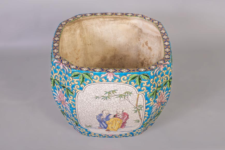 Japanese style cachepot in glazed earthenware with medallion decoration  of animated life scenes-1